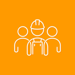 Builder line concept. Construction worker icon on yellow background