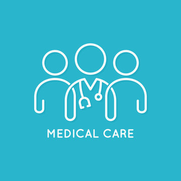 doctor team icon line medical concept on blue background