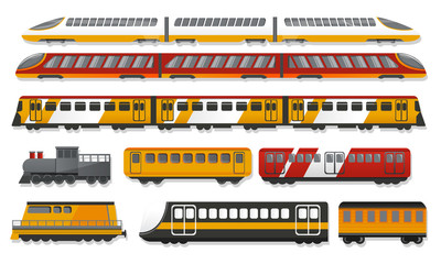 Subway train icon set. Cartoon set of subway train vector icons for web design