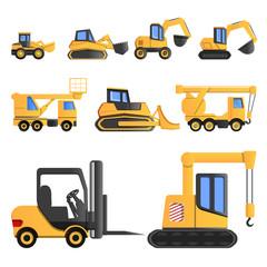 Lifting machine icon set. Cartoon set of lifting machine vector icons for web design