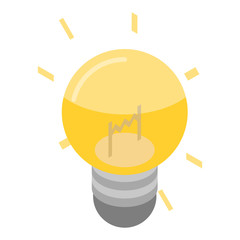 Light bulb idea icon. Isometric of light bulb idea vector icon for web design isolated on white background