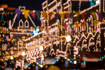 Abstract background with blurred christmas fair in Moscow city