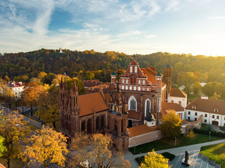 Aerial view of St. Anne's Church and neighbouring Bernardine Church, one of the most beautiful and probably the most famous buildings in Vilnius Wall mural
