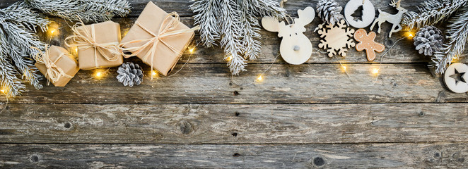 christmas wooden natural decoration ornament wide horizontal banner with copyspace Wall mural