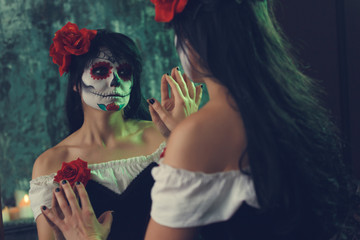 Halloween picture of girl with zombie make-up