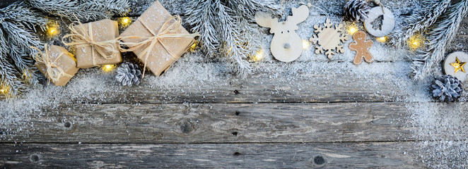 christmas wooden natural decoration ornament wide horizontal banner with copyspace and snow