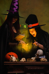 Picture of two witches in black hats making potions