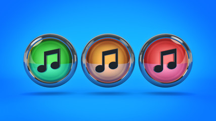Music glossy icon. 3d rendering