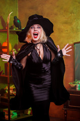 Picture of screaming witch in black hat, dress on background of rack with pumpkin and crow in dark room