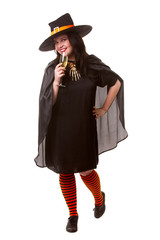 Full-length picture of cheerful witch brunette in black hat with glass of champagne