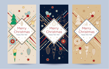 A set of christmas greeting card with festive decor. New Year template with place for text. Trendy design template of leaflet cover, flayer, card, beauty salon, spa, restaurant, club.