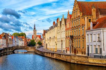 Bruges Old Town, canal and Poortersloge building, Belgium