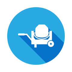 concrete mixer icon with long shadow. Elements of constraction icon with long shadow. Signs and symbols collection icon with long shadow for websites, web design, mobile app