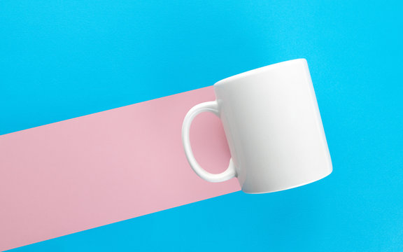 Mug pink mark on blue background