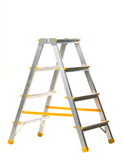 Single aluminum folding metal step ladder isolated on white