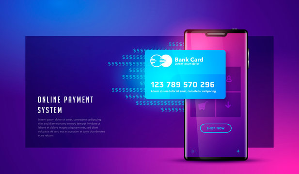 Vector illustration Financial analytics, digital financial services. Phone with a mobile interface of the payment system, money transfers and financial transactions