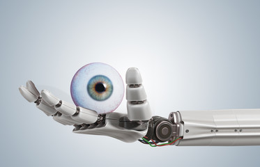 Robotic hand is holding human eye. 3D rendered illustration.