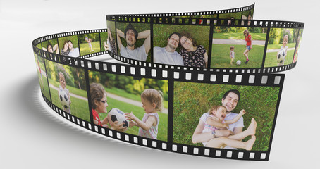Family life concept. Photos of happy family on film strip. 3D rendered illustration.