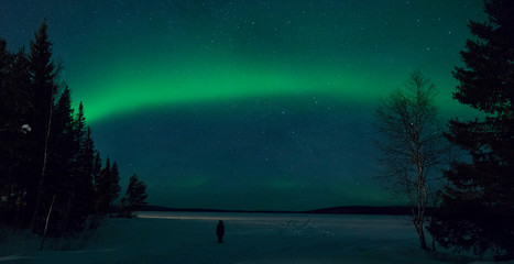 Unrecognizable tourist in thick jacket observing the spectacular northern lights