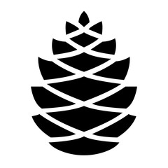 Simple pine cone icon. Black silhouette. Isolated on white