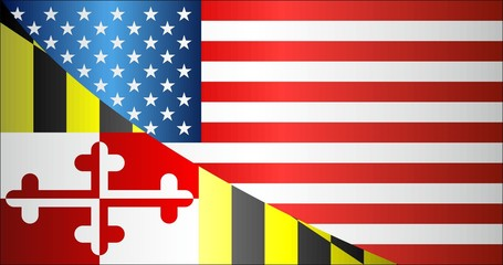 Flag of USA and Maryland state - Illustration, 
