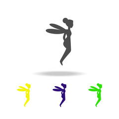 fairy silhouette multicolored icons. Element of fairy-tale heroes illustration. Signs and symbols collection icon for websites, web design, mobile app on white background
