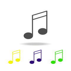 musical note multicolor icon. Element of web icons.  Signs and symbols icon for websites, web design, mobile app on white background with shadow