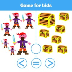 Education logic game for preschool kids. Choose the correct answer. More, less or equal Vector illustration