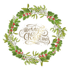 Mistletoe isolated. Traditional Christmas plant. Holiday red berry with green leaves. Decorating for national Festive on white background. xmas design template