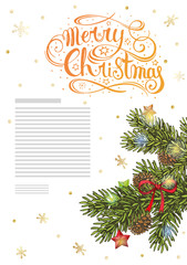 Template vertical greeting card or ad with spruce branch, stars, glowing garland, bow and the inscription Merry Christmas.