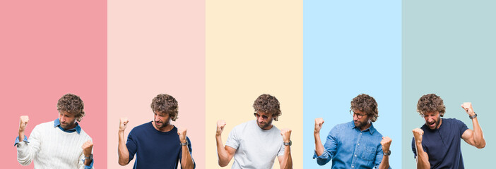 Collage of young casual man over colorful stripes isolated background very happy and excited doing winner gesture with arms raised, smiling and screaming for success. Celebration concept.