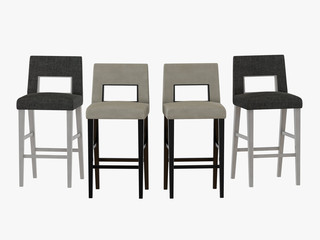 Four bar chair on a white background 3d rendering