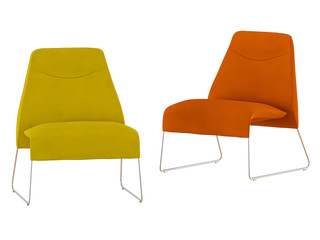 Two color chair on a white background 3d rendering