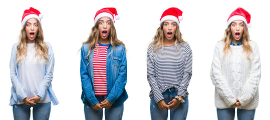 Young beautiful young woman wearing christmas hat over white isolated background afraid and shocked with surprise expression, fear and excited face.