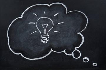 Chalk hand drawing idea bulb in thought bubble on blackboard
