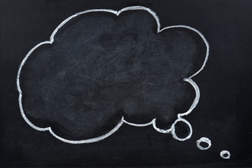 Chalk hand drawing blank thought bubble on blackboard