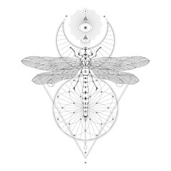 Vector illustration with hand drawn dragonfly and Sacred geometric symbol on white background. Abstract mystic sign. Black linear shape. For you design.