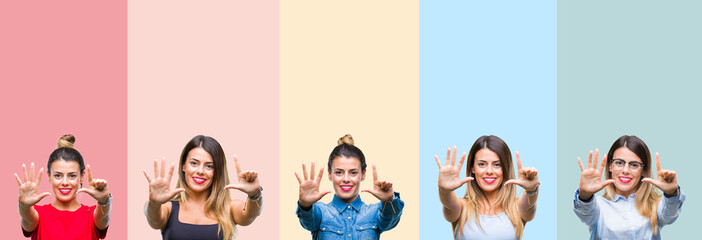 Collage of young beautiful woman over colorful stripes isolated background showing and pointing up with fingers number seven while smiling confident and happy.