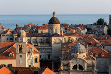 City Bell Tower, the Cathedral of the Assumption and the St Blaise's Church in Dubrovnik, Croatia