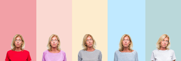 Collage of middle age senior beautiful woman over colorful stripes isolated background puffing cheeks with funny face. Mouth inflated with air, crazy expression.