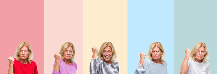 Collage of middle age senior beautiful woman over colorful stripes isolated background angry and mad raising fist frustrated and furious while shouting with anger. Rage and aggressive concept.