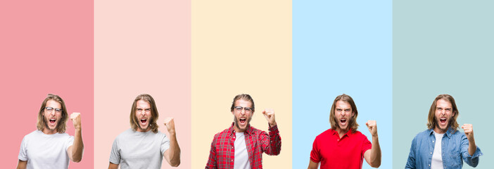 Collage of young handsome man over colorful stripes isolated background angry and mad raising fist frustrated and furious while shouting with anger. Rage and aggressive concept.