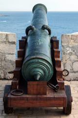 16th century bronze canon in the Fort Lawrence, Dubrovnik, Croatia