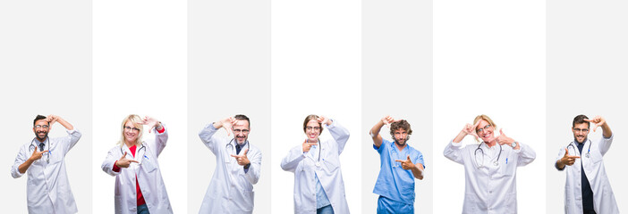 Collage of professional doctors over stripes isolated background smiling making frame with hands and fingers with happy face. Creativity and photography concept.