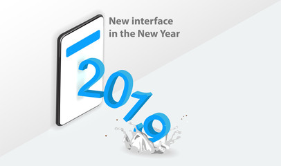2018 inscription in isometric projection on the phone screen white background