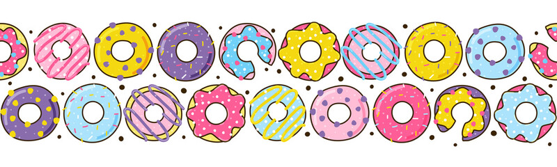 Seamless border with color donuts