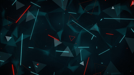 Glowing blue and red lines and triangles abstract futuristic sci-fi concept