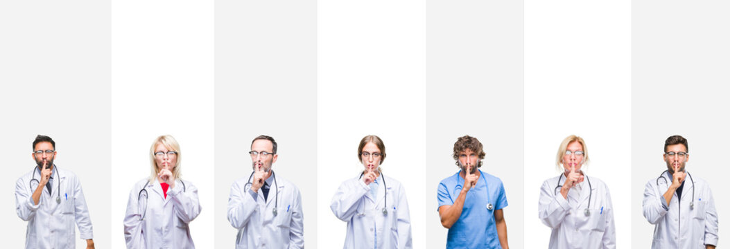 Collage of professional doctors over stripes isolated background asking to be quiet with finger on lips. Silence and secret concept.