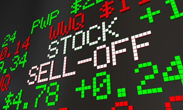 Stock Sell-Off Wall Street Market Ticker Crash 3d Illustration