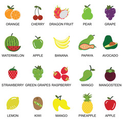 Fruits and berries icons collection set.